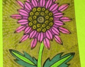 Original Drawing ACEO Purple and Pink Flower Design