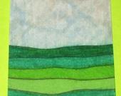 Original Drawing ACEO Green English Fields Design