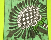 Original Drawing ACEO Black and White Checkered Flower Green Background Design