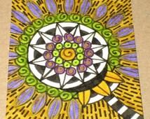 Original Drawing ACEO Black White Green Purple Mustard Flower