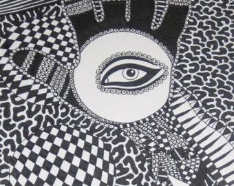 Original Ink Drawing Black Hand and Eye Design