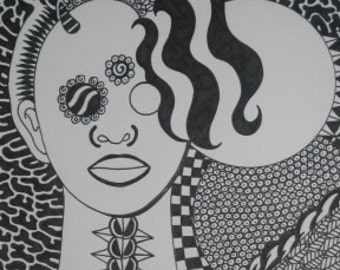 Original pen and ink Drawing CURLY HAIR