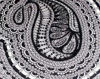 Original Pen and Ink Drawing Paisley