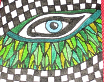 Original Drawing ACEO Blue Eye With Leaves