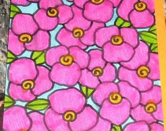 Original Drawing ACEO Pink Flowers