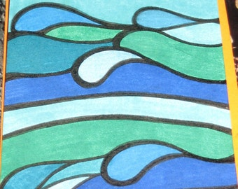 Original ink Drawing ACEO Blue Waves