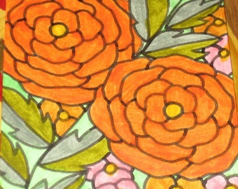 Original Drawing ACEO Orange Flowers