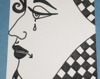 Original Drawing ACEO Black and White Face Tear Profile
