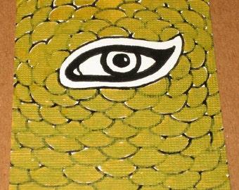 Original Drawing ACEO Gold  Eye