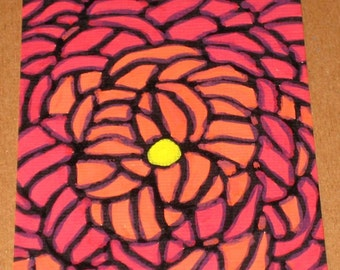 Original Drawing ACEO Red and Orange Flower