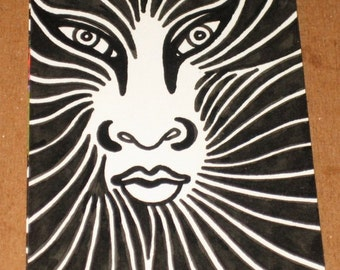 Original Drawing ACEO Black and White Face