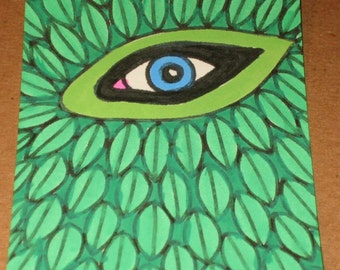 Original Drawing ACEO Green Leaves and Eye