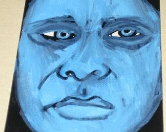 Original Drawing ACEO Blue Face Man