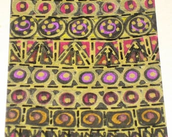 Original Drawing ACEO Gold and Purples Tapestry Design