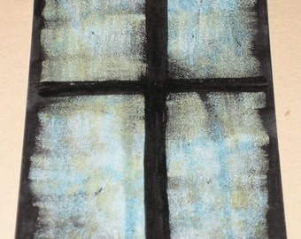 Original Drawing ACEO Blue and Grey Sky Through the Window Design