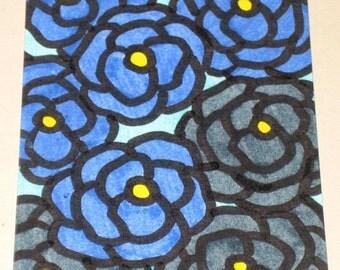 Original Drawing ACEO Blue Flowers Design