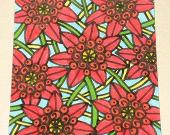 Original Drawing ACEO Red and Orange Flowers Design