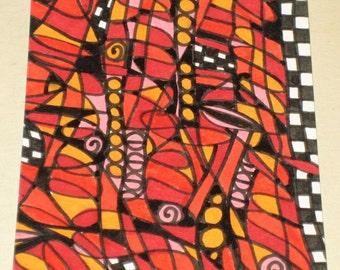 Original Drawing ACEO Oranges and Reds Design