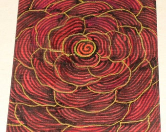 Original Drawing ACEO Red and Gold Flower Design