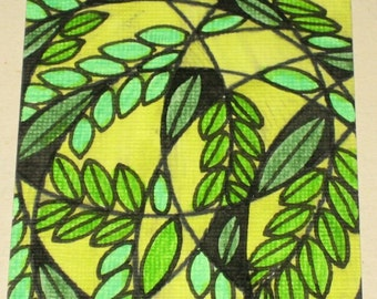 Original Drawing ACEO Green Branches and Leaves Design
