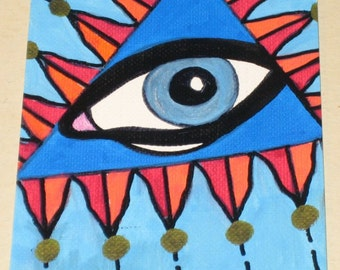 Original Drawing ACEO Blue Triangle Flame Eye Design