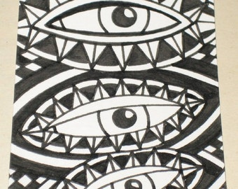 Original Drawing ACEO  Black and White Three Eyes Design
