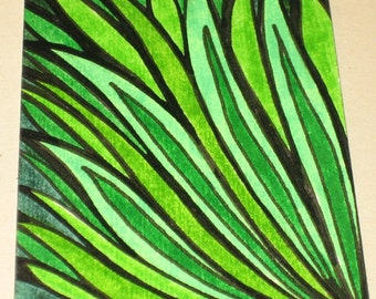 Original Pen and Ink ACEO Green Grass Design