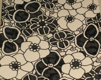 Original PEN and INK Drawing Flowers