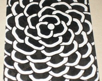 Original Pen and Ink Drawing ACEO Black and White Flower Design