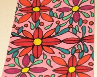 Original Drawing ACEO Pink and Orange Flower Design