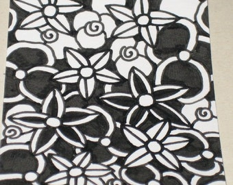 Original Drawing ACEO Black and White Flowers Design
