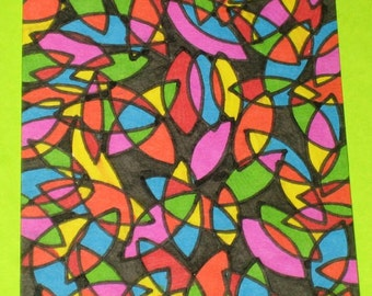 Original Drawing ACEO Multi Colored Design