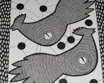 Original INK Drawing CHICKENS with Broken EGGS