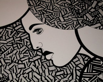 Original PEN and INK Drawing Woman Surrounded by Little Strips of Bacon
