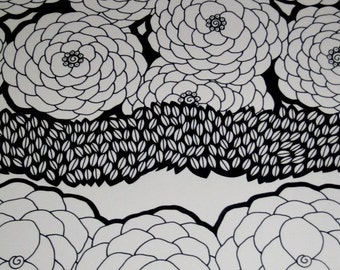 White Flowers Original Pen and Ink Drawing