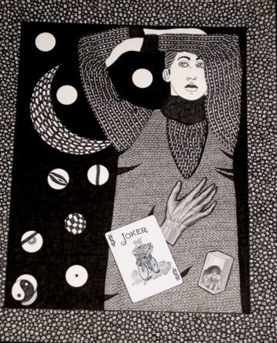 ORIGINAL INK Drawing and Collage Joker Woman at Night