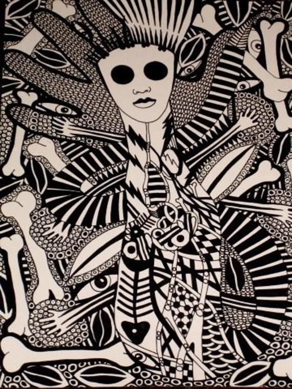 Original INK Drawing Woman Bones and Fish Skeleton