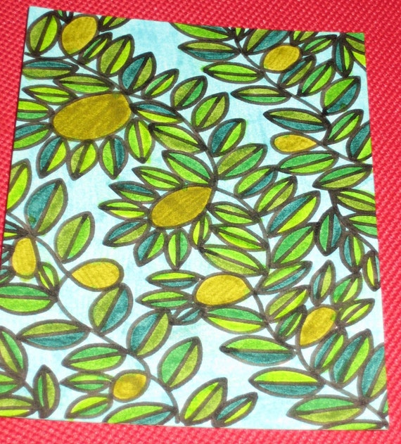 Original Drawing ACEO  Green Leaves Gold Leaves and Vine