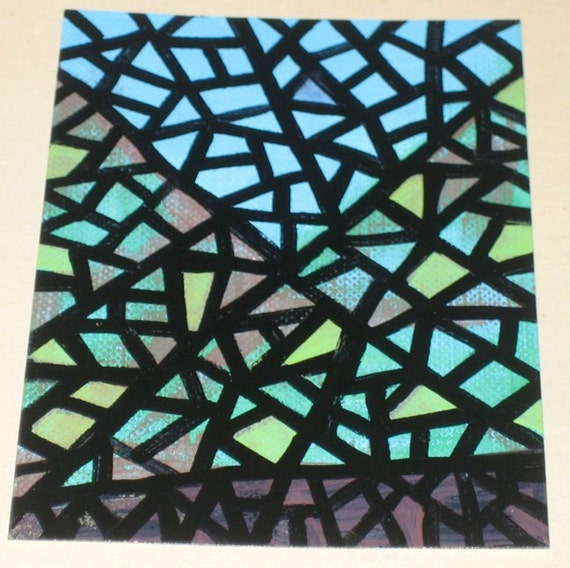 Original Drawing Aceo Hills And Sky Stained Glass Look Design