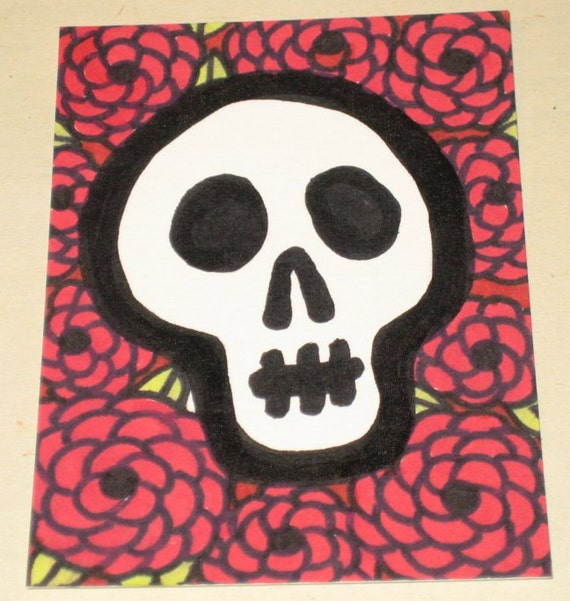 Original Drawing ACEO Day of the Dead Skull with Red Flowers Design