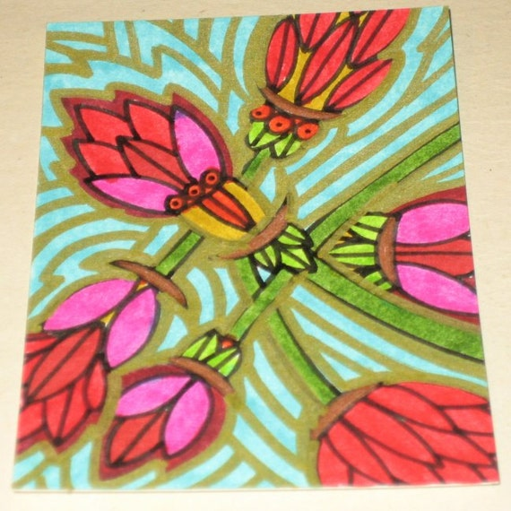 Original Drawing ACEO Pink and Red Flower Gold and Turquoise Background Design