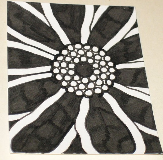 Original Drawing ACEO Black and White Flower Design