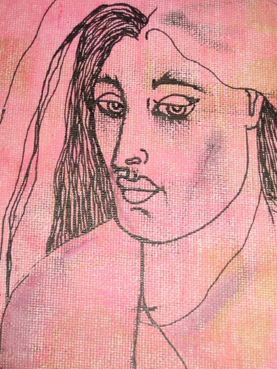Pen and Ink Pink Face Drawing on Canvas Board