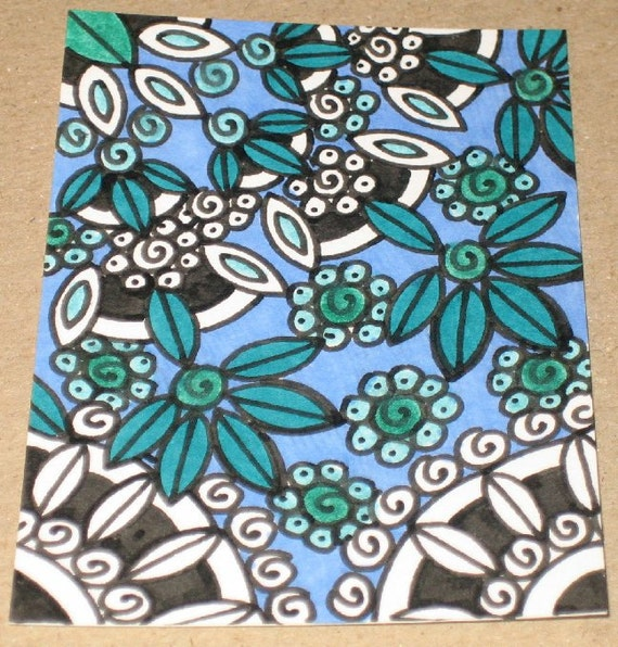 Original Drawing ACEO Black  White Blue and Green Design