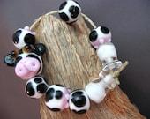 Cow Beads, Handmade, lampwork, bead set, animal, cow, milk bottle