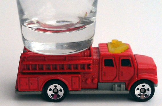 the ORIGINAL Hot Shots Shot Glass, International Pumper, Red Firetruck, Intl. Firefighters Day, May 4