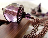 Soft Purple Necklace - Faceted Lilac Amethyst Glass Pendant, Antiqued Copper Chain, Romantic Vintage Style Jewelry, Bridesmaid Necklace