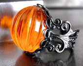 Neon Orange Pumpkin Ring, Halloween Jewelry, Day Glo Bright Orange Cocktail Ring, Black Gunmetal Adjustable Ring, Dark Goth Gothic Ring - ShySiren