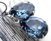 Something Blue Crystal Earrings, Sky Blue Swarovski Crystal Teardrop Earrings, Bridesmaid Earrings, Blue Wedding Jewelry, Mothers Day Gift