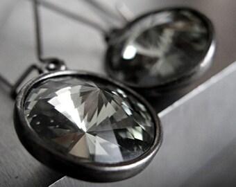 Black Diamond Crystal Earrings, Grey Gray Swarovski Rivoli Crystal Earrings, Gunmetal Black Bezel, Black Bridesmaid Earrings - Darkness